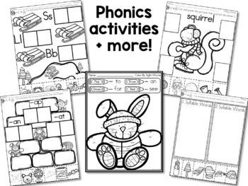 Winter Activities - Math and Literacy Printables for Kindergarten