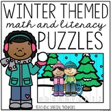 Winter Math and Literacy Puzzles (36 Puzzles Included!)