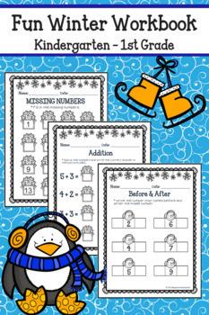 Winter Math and Literacy Worksheets - Kindergarten No Prep!
