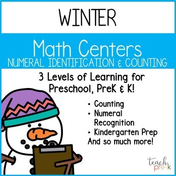 Winter Math centers Bundle for Preschool, PreK, K & Homeschool