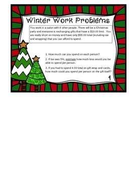 Winter Math for Career Classes Word Problems