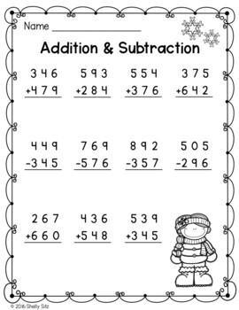 Winter Math for Second Grade Freebie