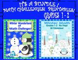 Winter Math printables No Prep! plus Math Challenges  Grades 1 - 2
