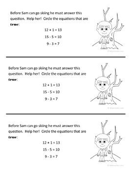 Winter Math Journal Prompts (1st grade) - Common Core