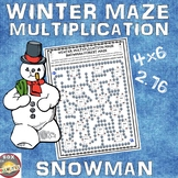 Winter Maze: Math Multiplication Activity: Snowman Multiplication Maze