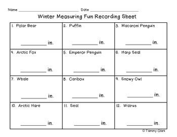 Winter Measuring Fun Task Card Set