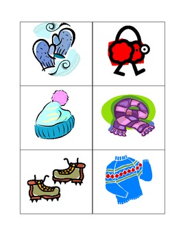 Winter Memory Game Cards to Learn About Seasons
