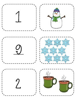 Winter Memory Game- Counting 1-10