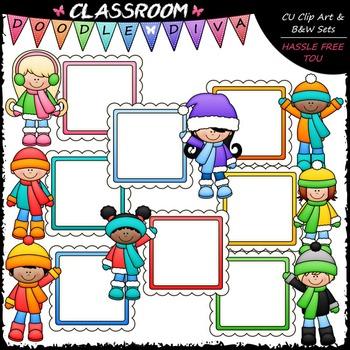 Winter Message Board Kids Clip Art - Winter Kids Frames | TpT