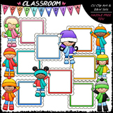 Winter Message Board Kids Clip Art - Winter Kids Frames