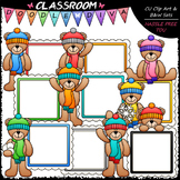 Winter Message Board Teddy Bears - Clip Art & B&W Set