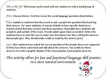 Winter Social Skills Middle School and High School Part 2