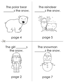 Winter Mini Emergent Readers- Double Sided Printing- Easy Assembly