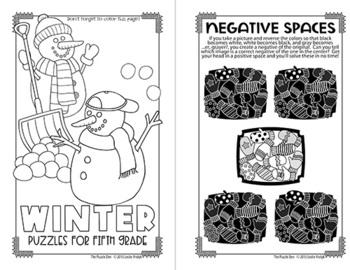 Winter Mini Puzzle Book for Fifth Graders