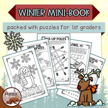 Winter Mini Puzzle Book for First Graders