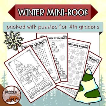 Winter Mini Puzzle Book for Fourth Graders