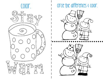 Winter Mini Student Activity Pack - Great for class parties!
