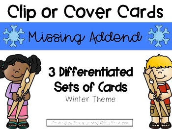 Winter Missing Addend Clip or Cover Cards