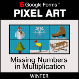 Winter: Missing Numbers in Multiplication - Pixel Art Math