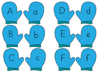 Winter Mitten Capital and Lower Case Letter Match