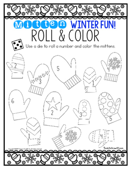 Winter Mitten FUN! Roll & Color/Colour