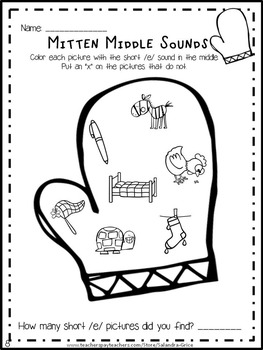 Winter Mitten Middle Sound Printables and Games