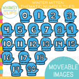 Winter Mitten Number Tiles Clip Art {MOVEABLE IMAGES}