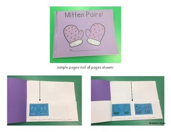 Winter Mitten Pairs Book  Pairs, Count by Twos, Skip Counting, and Even Numbers