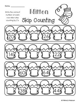 Winter Mitten: Skip Counting by 2's - Card Sort Center and Worksheet
