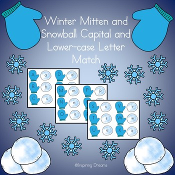 Winter Mitten and Snowball Capital and Lower Case Letter Match