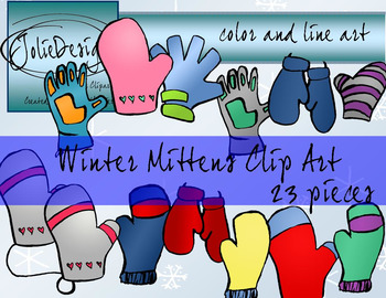 Winter Mittens Clipart - Color and Line Art 23 Piece Set