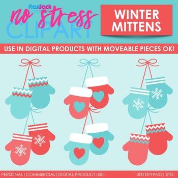 Winter Mittens Clip Art (Digital Use Ok!)