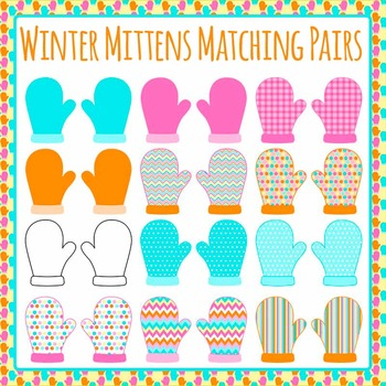 Winter Mittens Clip Art Set for Commercial Use