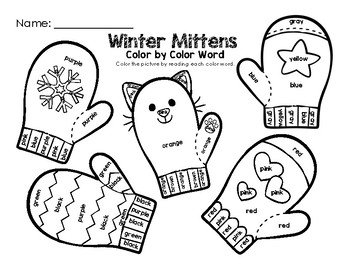 Winter Mittens Color by Color Word