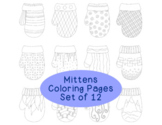 Winter Mittens Coloring Pages PDF Printable Set of Four