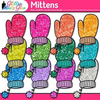 Rainbow Mitten Clip Art {Great for Winter Activities & Digital Scrapbooking}