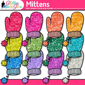 Rainbow Mitten Clip Art | Great for Winter Activities & Digital Scrapbooking