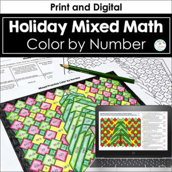 Winter Mixed Math Practice Color by Number