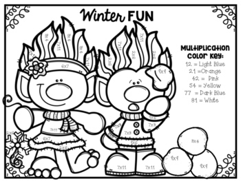 Winter Mixed Multiplication Color-By-Number