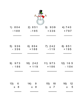 Winter Mixed addition, subtraction, and multiplication