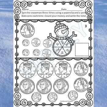 "Winter Snowman Spinner ""Counting Money"" (Money Activities)"