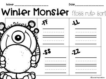 Winter Monster FLOSS Rule Sort (Orton-Gillingham)