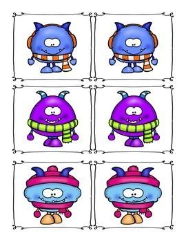Winter Monster Matching Cards for Preschool, Prek, and Kindergarten