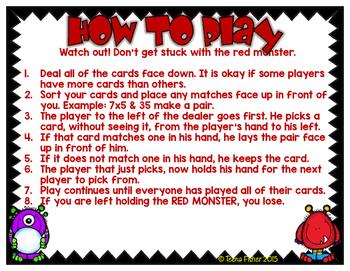 Winter Monster Multiplication Facts 7 & 8 3rd Grade
