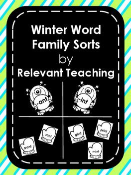 Winter Monster Word Family Sorts