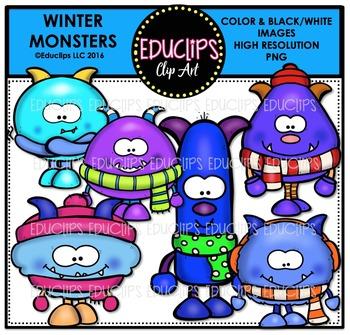 Winter Monsters Clip Art Bundle  {Educlips Clipart}