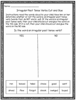 Winter Monsters Past Tense Verb Packet