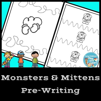 Winter Monsters and Mittens Pre-writing Lines Practice