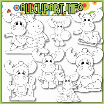 BUNDLED SET - Winter Moose 1 Clip Art & Digital Stamp Bundle