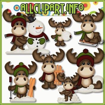 BUNDLED SET - Winter Moose 2 Clip Art & Digital Stamp Bundle